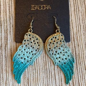 Isadora Ombré Teal & Gold Feather Shaped Earrings